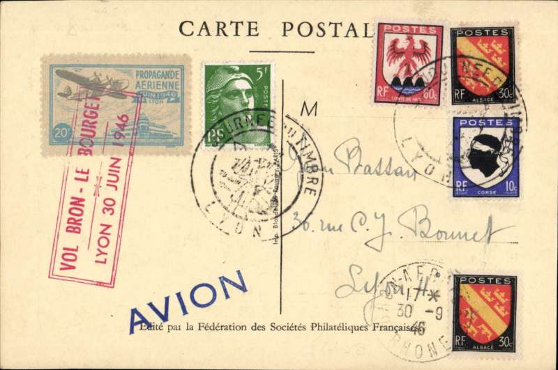 (France) Early post WWII F/F Bron to Le Bourget, attractive souvenir Stamp Day card franked 1F30 special Expo postmark, pale blue/grey Expo vignette tied by fine strike red framed 'Vol Bron-Le Bourget/Lyon 30 Juin 1946'. Image.