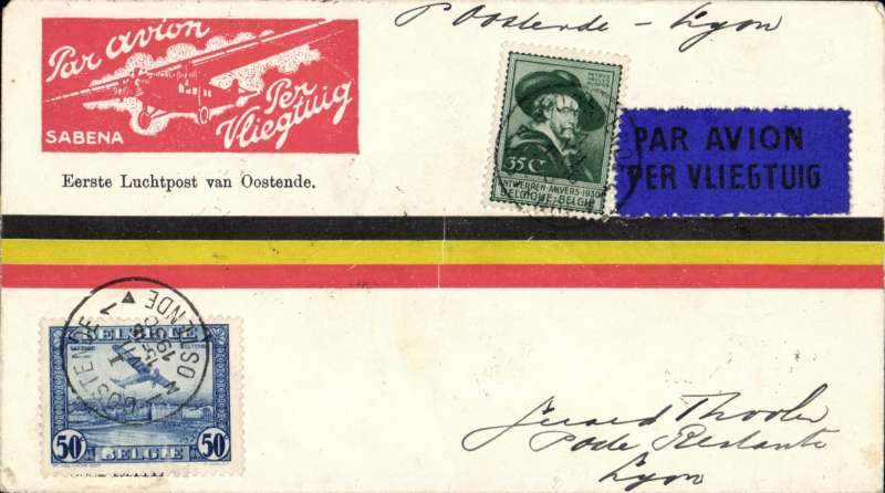 (Belgium) F/F Ostende to Paris, bs Paris Gare du Nord 1/7, tricolour commemorative cover franked 85c, Mu 105 800. Image.