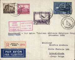 (Belgium) Very fabry and Vanderlinden interrupted flight, Brussels-Leopoldville, bs 15/12, flight interrupted near Alicante for repairs, Ni 301208. Registered (label) cover correctly rated 5F air surcharge, 1.25F basic postage, 1.75F Reg fee, red flight cachet. Then flown on by a Sabena internal flight en route to final destination Likasi-Panda, 20/12. Nice routing. Faint ironed non invasive fold, 2cm from bottom edge, does not detract, see image.