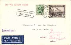 (Belgium) Antwerp to Malmo survey flight, bs16/10, plain cover franked 1.50F and 35c surcharge both canc Antwerp cds, red typed '1er Vol Anvers-Malmo', framed Par Avion' hs, Mu 116, 2500. Image.
