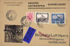 (Belgium) Antwerp Aviation Meeting, special flight Antwerp to Dusseldorf, bs 16/10, also red receiver, souvenir cover with special depart cds, flight cachets front and verso, franked 1.50F inc 50c with special flight overprint..