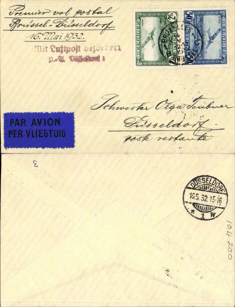 (Belgium) F/F Brussels to Dusseldorf, bs 16/5, plain cover franked 2F50 canc Brussels cds, red two line Dusseldorf arrival hs. Image.