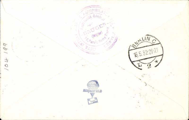 (Belgium) F/F Brussels to Berlin, 16/5 arrival ds's front and verso, plain cover franked 85c canc special 'Anvers Airport' postmark, fine red Luftpostampt /Berlin C2 hs on front.. Francis Field authentication hs. Image.