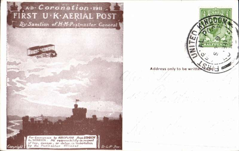 (GB Internal) First UK Aerial Post, London  to Windsor, dark brown PC. Image.