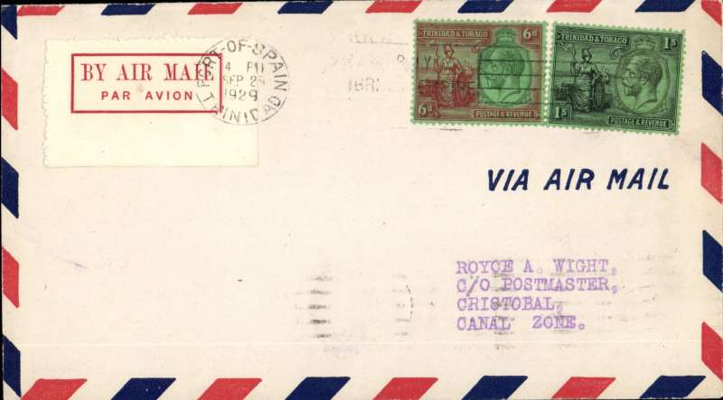 (Trinidad) F/F FAM 6, Port of Spain to Cristobal, bs 2/10, franked 1/6d, 1929 red on cream etiquette rated rare (Mair),Pan Am, Image.