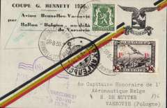 """(Belgium) (Polar) Belgium-Poland-Russia:Balloon flight card,19361936 Gordon Bennett Cup, carried by renown Belgian balloonist E.de Muyter: flown by plane to Warsaw, Poland; then on de Muyter's balloon """"Belgica"""" that flew 1715km in 46 hours, and landed way north, near Arkhangelsk. Imprint on reverse states, in part, that """"une partie du courrier a ete perdu"""" - part of carried mail was destroyed or lost (probably thrown out to prolong the flight)."""