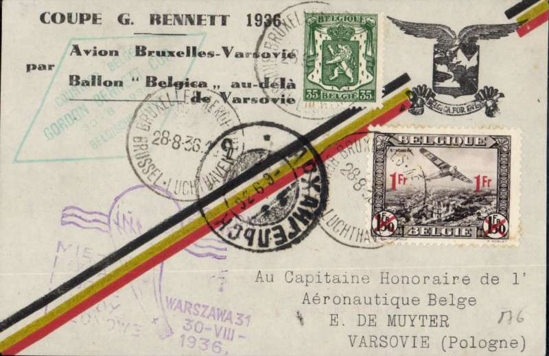 "(Belgium) (Polar) Belgium-Poland-Russia:Balloon flight card,19361936 Gordon Bennett Cup, carried by renown Belgian balloonist E.de Muyter: flown by plane to Warsaw, Poland; then on de Muyter's balloon ""Belgica"" that flew 1715km in 46 hours, and landed way north, near Arkhangelsk. Imprint on reverse states, in part, that ""une partie du courrier a ete perdu"" - part of carried mail was destroyed or lost (probably thrown out to prolong the flight)."