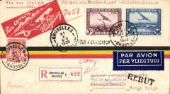"(Belgium) Brussels to Elisabethville, 12/11, via Marseilles 1/11,  carried on the first accelerated Sabena Brussels to Elisabethville service via the NEW (via Stanleyville) schedule, registered (label) red/yellow/black stripe airmail cover franked 5F50, type ""Via Air Afrique/Bruxelles-Paris-Alger-Elisabethville"". Intended for 1st Air Afrique flight, but this was deferred for several weeks. So carried on the second Sabena flight. A nice historical item and one for the exhibit."