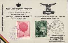(Belgium) Gordon Bennett balloon, Brussels to Riga, arrival ds 26/6 on front, piloted by Demuyter, special card with red vignette canc Ballon/Belgica.