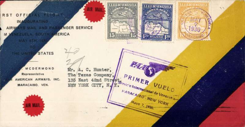 (Venezuela) Pan Am F/F Maracaibo to Cristobal, bs 7/5, scarce printed 'Pan American Airmail and Passenger Service/From Venezuela South America/May 6, 1930/to/United States' cover with dark blue/red/yellow stripes, franked 2.10B, canc Maracaibo cds, official Violet framed flight cachet.