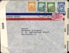 (Colombia) Dual censored WWII airmail from Colombia to England, franked 85 1/2c canc Correo Aereo/Cali cds, type 'Transatlantico', sealed US New York EB 5688 and Bermuda OBE 709 censor tapes.