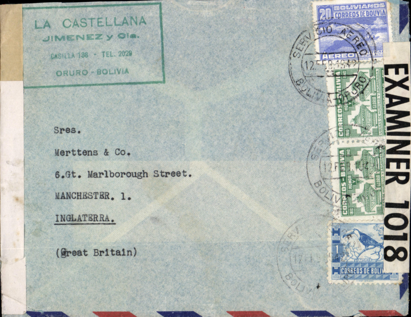 (Bolivia) WWII dual censored cover Bolivia to GB, Oruro to London, sealed Miami and Carribean censors.