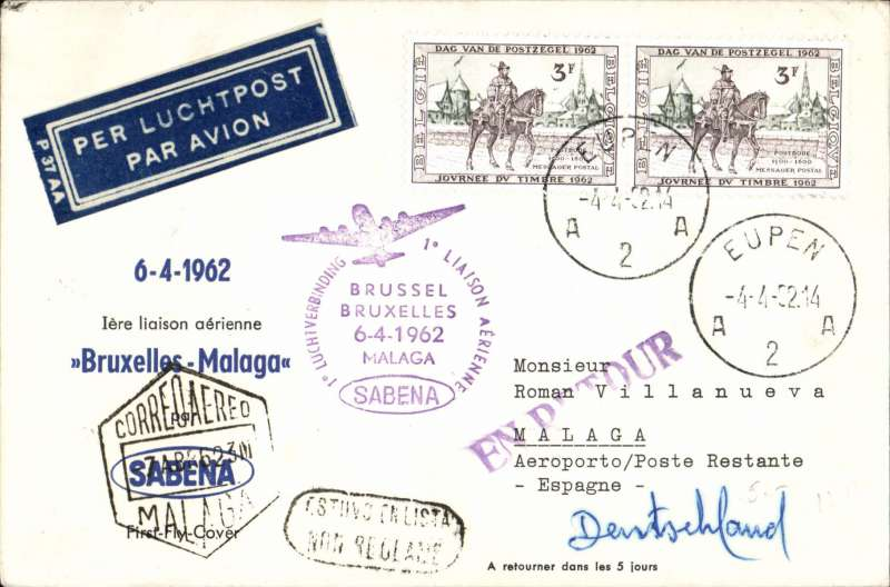 (Belgium) Sabena F//F Brussels to Malaga, 7/4 arrival cds on front, Souvenir cover franked 6F.bs
