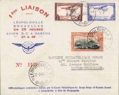 (Belgian Congo) Sabena, first return flight accelerated Leopoldville-Brussels, bs 1/3, attractive red/blue/pale grey registered (label) 'Cercle Philatelique du Congo Belge et Ruanda Urundi' souvenir cover franked  8F50, 1/3/27 arrival ds on front, sent by the President of the Cercle Philatelique.