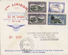 (Belgian Congo) F/F in 25 hours, Leopoldvile to Brussels 28/2, attractive souvenir cover franked 7F50, sabena.
