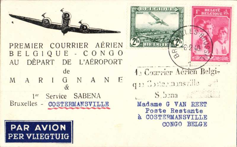 (Belgium) First connection between the Sabena internal service to Usumbura, and the Kikwit-Tshikapa service, Brussels to Costermansville, bs 18/2, black three line flight cachet '1e Courrier Aerien Belgi-/que Costermansville/Sabena', Van Reet printed souvenir cover franked 3F + 35 verso.