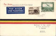 (Belgium) F/F Brussels-Tunis-Damascus,  bs  Damascus 11/2, Van Reet tricolour cover franked 3F50. Uncommon