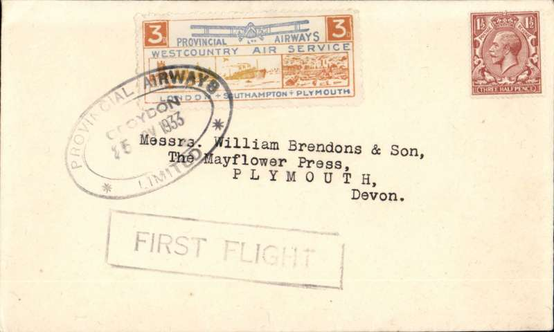 """(GB Internal) Provincial Airways Ltd, inauguration of the third GB Internal Airmail Service, """" West Country Air Service"""", London to Plymouth, Stanley Gibbons embossed flap envelpe, franked 1 1/2d and 3d orange bi-coloured vignette tied by PA Ltd 'Croydon' 25 Nov 1933 hs, framed """"First Flight"""" cachet, plain cover. The service operated for six days only."""