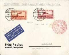 (Saar) Saarbrucken to Berlin, bs 1/5, airmail etiquette cover franked 1928 50c and 1932 60c airs, canc 1/5 cds, fine strike red Berlin receiver. Image.