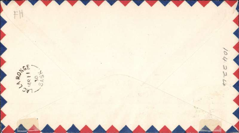 (Canada) Cherry Red Airline Ltd, F/F Christopher Lake to Lac La Longe, bs 11/3, airmail cover franked  2c, also black/red/white CL46 tied by red 'Cherry Red Airline Limited' hs,