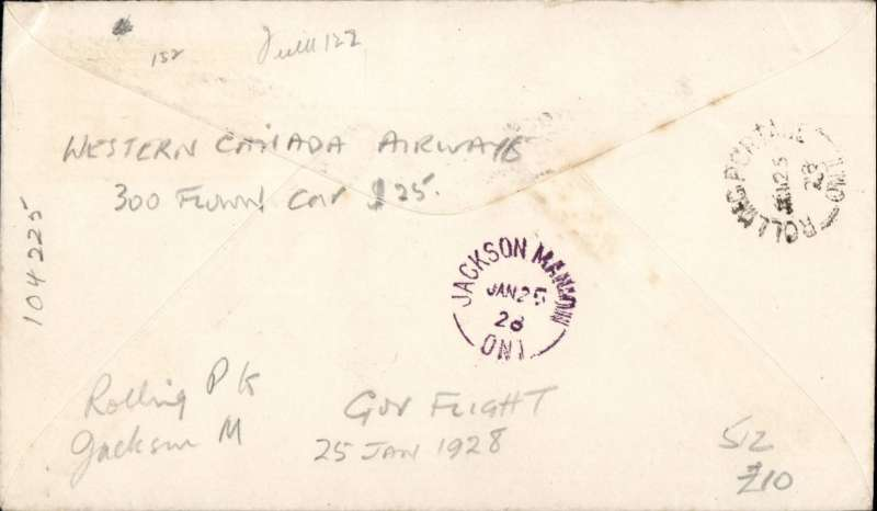 (Canada) First Govt. Airmail from Rolling Portage to Jackson Manion, b/s, printed souvenir cover, Western Canada AW.