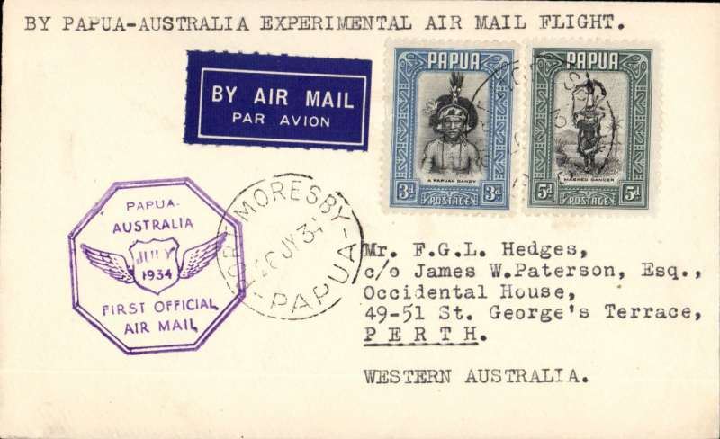 "(Papua and New Guinea) Ulm and Allan's return flight in ""Faith in Ausralia"" flown from ort Moresby 26/7 to Melbourne 1/8,  franked 5d Papua and 8d New Guinea stamps, violet octagonal flight cachet.."