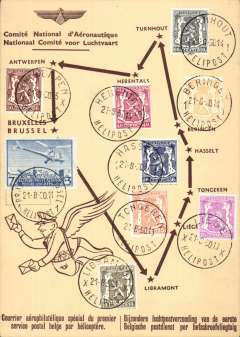 (Belgium) Sabena F/F Belgian postal service by helicopter, round trip of nine stops fromTurnhout-Turnhout, souvenir card with  nine intermediate transit postmarks and stamps.Image.
