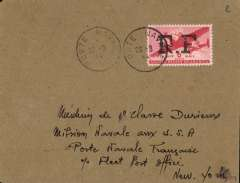 (France) WWII uncensored Naval Post airmail, Paris to New York, addressed to Mission Navale aux USA/Poerte Navale Francaise, plain cover franked USA concessionary rate for airmail 6c air opt 'R.F.', canc 'Poste Navale/23-8/44'. The Naval Post is responsible for the shipping, receiving, sorting, routing and distribution of mail to naval personnel. From the beginning of 1940 the date stamps of coastal offices no longer bear any indication to determine the original office of the letter. Interesting. Image.