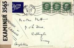 (France) Censored WWII airmail from Vichy France to England, airmail etiquette and 3x 2F stamps tied by Lyon/19th Sep/42 cds, sealed by GB PC90 OBE 3565 censor tape, ms 'To Marseille et Lisbon, by rail to Lisbon then by BOAC to Poole/Bristol.. Correctly rted 4F postage and 2F air surcharge. Image.