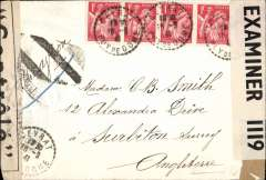 (France) Dual censored WWII airmail from Vichy France to England, plain cover franked 2F50 postage and 1F25 air, canc Ceyrat cds, sealed by French censor tape at Marseille and GB censor tape OBE 1119, ms 'Par Avion' cancelled with Marseille black double bar Jusqu'a. Image.