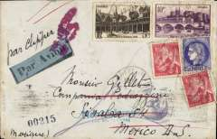 (France) Uncensored WWII transatlantic airmail from Vichy France to Mexico, bs 22/8, via Lisbon 10/8, airmail etiquette cover addressed to Sinola, Mexico, franked 2F postage and 17F air, ms 'Par Clipper'. Good routing, see image.