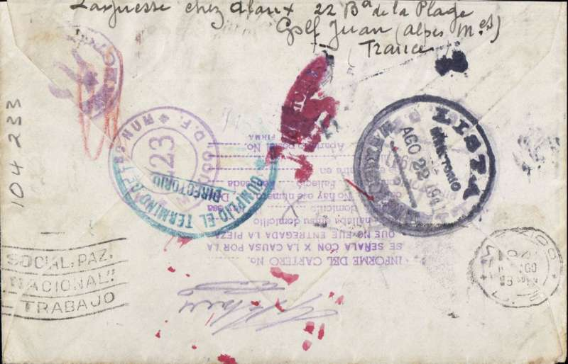 (World War II) Uncensored WWII transatlantic airmail from Vichy France to Mexico, bs 22/8, via Lisbon 10/8, airmail etiquette cover addressed to Sinola, Mexico, franked 2F postage and 17F air, ms 'Par Clipper'. Good routing, see image.