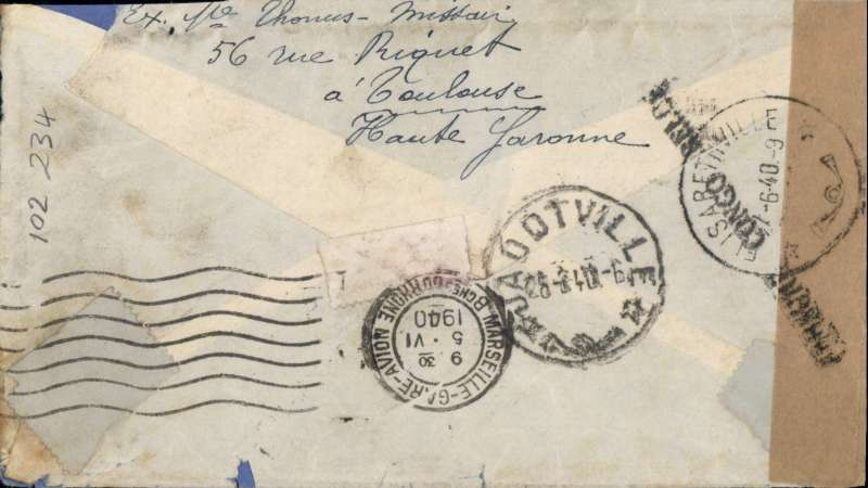 (France) WWII censored airmail Toulouse to Jadotville, Belgian Congo, bs 28/6.via Marseille Gare Avion 5/6 and Elizabethville 27/6, franked 2F50 overseas postage and 9F air, canc Toulouse cds, sealed plain brown censor tape tied by black 'Censure Congo Belgique' censor mark. Interesting wartime item with good routing. Image.