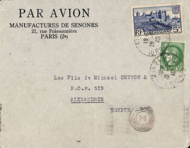 (World War II) WWII censored airmail Paris to Alexandria, via Cairo 3/6, franked 2F50 postage and 5F air, canc Paris cds, censored in Egypt., flown Air France to Athens, then Imperial Airways to Alexandria. Image.