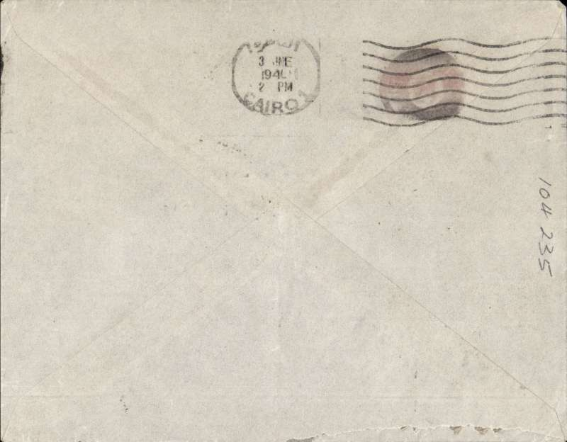 (France) WWII censored airmail Paris to Alexandria, via Cairo 3/6, franked 2F50 postage and 5F air, canc Paris cds, censored in Egypt., flown Air France to Athens, then Imperial Airways to Alexandria. Image.