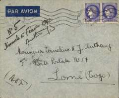 (France) WWII uncensored airmail Marseille to Lome, Togo, bs 15/2, franked 1F50 overseas postage and 3F50 air, ms 'AoF', likely Reseau Aerienne Francaise to Dakar, then Aeromaritime to Lome. Uncommon wartime destination with interesting routing. Image.