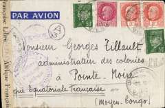 (France) WWII censored airmail France to French Congo, Lussac Les Chateaux to Pointe Noire, via Cotonou 21/3 and Brazzaville 1/5, franked 4F overseas ordinary + 4F50 airmail surcharge, sealed 'Controle Postal/ France Libre Afrique Francaise' censor tape tied by pointed oval 'Ouvert Par L'Autorite Militaire' censor mark, also black circular 'Afrique Territorial Francaise'  and small 'A/3' in circle censor marks. nice routing. Image.