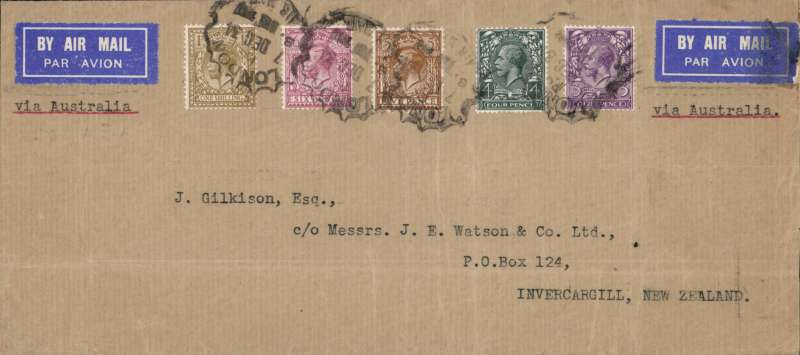 (GB External) Imperial Airways/ITCA/Qantas, double rate London to Invercargill, New Zealand, via Sydney 21/12, cover, 10x21cm, flown on F/F extension of London-Singapore service to Australia,  rated 2/6d, canc unusual London black circular wavy edge 'London/7 Dec 34Bristol/Air Mail/6 Dec/1934 cds. Image.