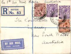 "(GB External) First GB acceptance for sea mail to Freemantle, Australia, then F/F over Australian Perth-Adelaide service, saving 4 days on the journey, Leicester to Sydney 8/6, via Perth 4/6, ms endorsement ""Per 1st Air Mail London-Australia', black/ blue etiquette, registered (label) cover franked 9 1/2d ( 3d air fee + 1 1/2d basic rate + 5d registration) canc Ibstock cds and purple hooded London Reg ds verso. Great routing."