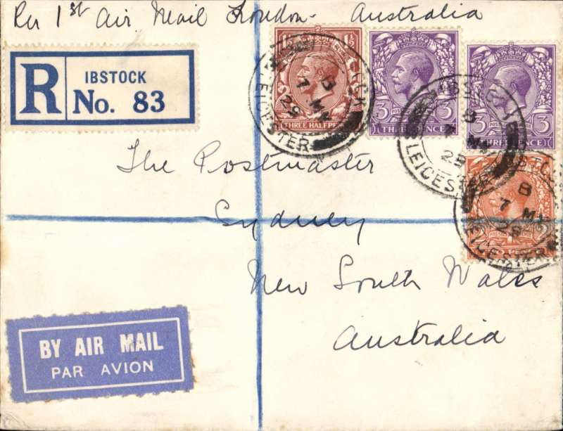 """(GB External) First GB acceptance for sea mail to Freemantle, Australia, then F/F over Australian Perth-Adelaide service, saving 4 days on the journey, Leicester to Sydney 8/6, via Perth 4/6, ms endorsement """"Per 1st Air Mail London-Australia', black/ blue etiquette, registered (label) cover franked 9 1/2d ( 3d air fee + 1 1/2d basic rate + 5d registration) canc Ibstock cds and purple hooded London Reg ds verso. Great routing."""