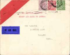 "(GB External) F/F London to Karachi, bs 6/4, unusual red stripe/white envelope franked 7 1/2d, typed ""By Imperial Airways First Air Mail between England and India"" cover franked 7 1/2d, par avion etiquette."
