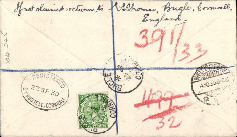 (GB External) England to Java, first acceptance of British mail for KLM service to the Dutch East Indies and Siam, Bugle, Cornwall to Batavia, bs Weltevreden 4/10,  registered (label) cover franked 1/7d inc (nine stamps inc six controls) canc Bugle cds with uncommon 'Registered/23 SP 30/St Austell, Cornwall, verso, ms 'First Flight London - Amsterdam-Batavia'. Superb example in fine condition with good routing. Image.