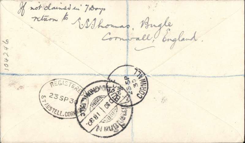 (GB External) England to Siam, first acceptance of British mail for KLM service to the Dutch East Indies and Siam, Bugle, Cornwall to Bangok, bs 2/10,  registered (label) cover franked 1/4 1/2d (eight stamps inc six controls) canc Bugle cds with uncommon 'Registered/23 SP 30/St Austell, Cornwall, verso, ms 'First Flight London - Amsterdam-Bangkok'. Great example in fine condition with good routing. Image.