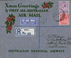 "(GB External) Kingsford Smith's return flight, England to Australia,"" All the Way"" Christmas and New Year flight, London to Melbourne, bs 22/1/32, registered (label) grey/red/green ""Xmas Greetings"" Australia National Airways souvenir cover, correctly rated 1/7d, canc oval Southampton 17 Dec 31 ds."