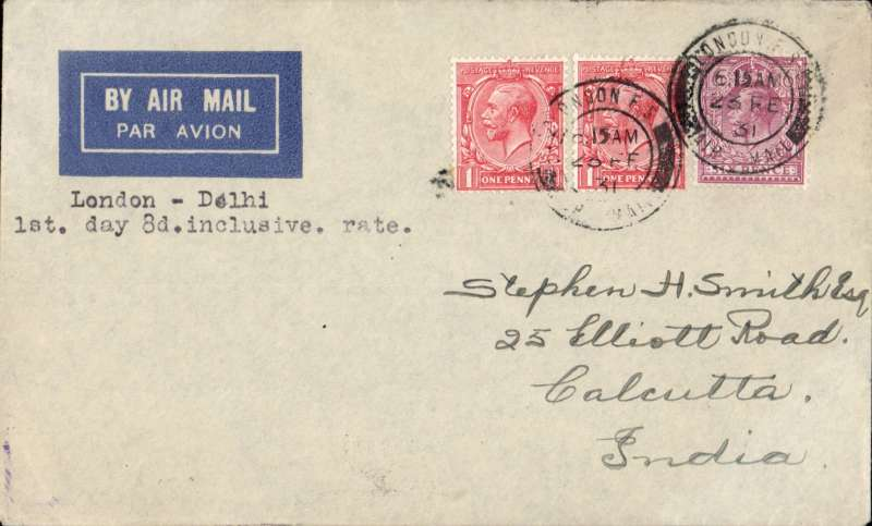 (GB External) First day of the introduction of an inclusive postage and air fee for countries outside Europe, London to Calcutta, bs 11/3, imprint airmail etiquette cover correctly rated 8d for London to Delhi, typed 'London-Delhi/1st day 8d inclusive rate'. Francis Field authentication hs verso. A nice item for that sophisticated exhibit. Image.