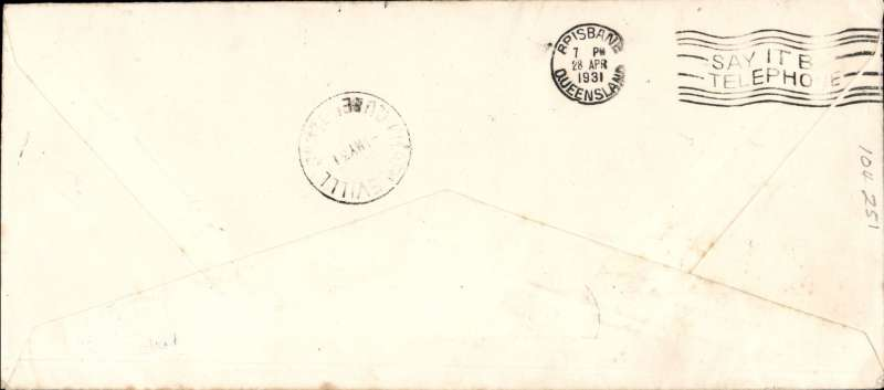 (GB External) Cover flown London to Brisbane, bs 28/4, carried on First Experimental Extension London-India- Australia service, official illus long cover. Plane crashed Kupang, mail carried to Darwin by Kingsford Smith, and on to Melbourne by Qantas.