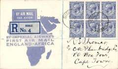 (GB External) Imperial Airways 1st flight London to Cape Town, bs 2/2,  registered (label) blue/white 'Map, cover franked 1/3d, canc London cds.This flight was interrupted twice, first when it had to make a forced landing at Shiwa, having had to overshoot Mpika in bad weather, and again at Broken Hill when the plane was taken out of service to search for the first northbound flight from Cape Town which had crashed at Salisbury, ref Ni 320129A.