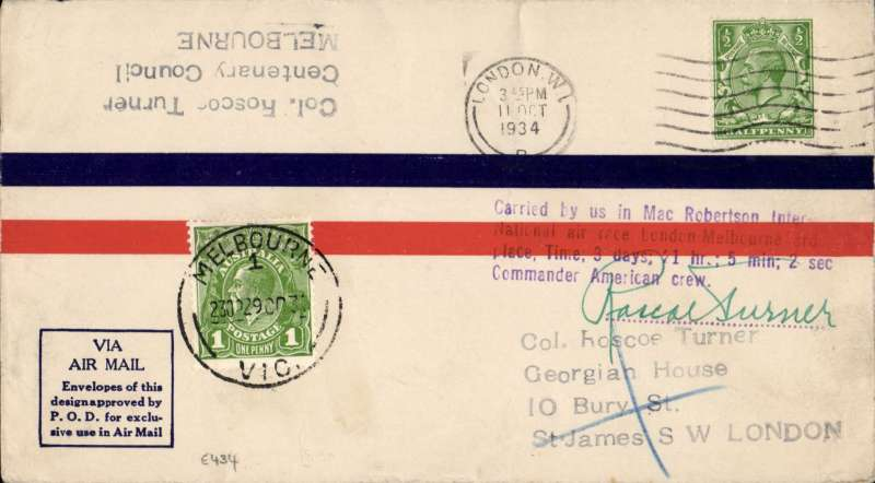 (GB External) Mac Robertson Race, London to Melbourne, Col Roscoe Turner, violet 4 line confirmation cachet, arrival cds 29/10 (on front), airmail cover. Image.
