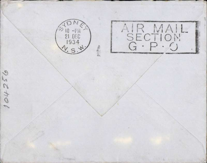 (GB External) London to New Zealand via Sydney 21/12 'Air Mail Section GPO', held over for carriage on F/F Australia extension of London-Singapore service, uncommon non philatelic cover correctly rated 1/3d, Imperial Airways/Qantas Image.
