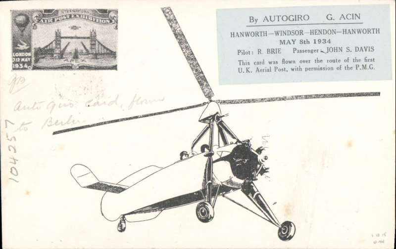 """(GB Internal) Apex International Air Post Exhibition, special souvenir PPC with drawing of  autogiro, black imprint Exhibition vignette, blue """"By Autogiro"""" label and violet Apex 1934 cachet, flown by autogyro from Windsor to London, then posted at the Exhibition Post Office and flown to Berlin, Berlin L2 9.5.34 arrival ds on front and red 'Mit Luftpost Befordert/Berlin C2' receiver, franked 2 1/2d canc official Exhibition postmark 8 May 34, red 'Apex 1934/London 7-12 May' cachet, and large """"By Autogiro/Over the Route/of the First UK/Aerial Post 1911/Windsor London"""" vignette. Few faint tone spots along middle of right edge. Hardly detracts, see image."""